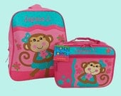Child's Personalized Stephen Joseph GoGo GIRL MONKEY Themed Backpack and Lunchbox School Set-Monogramming Included In Price