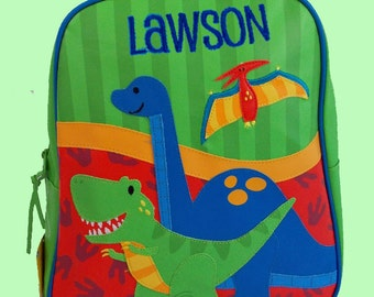 Personalized Stephen Joseph GoGo Backpack NEW STYLE DINO Themed Bag in Blue
