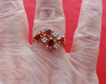 20% off sale Vintage 14KGE signed gold tone red and clear rhinestone ring,condition is unworn, sizes 6.25 & 7