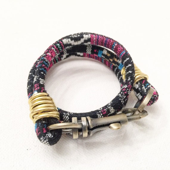 Multi Colored Cotton & Gold Closure Wrap Bracelet