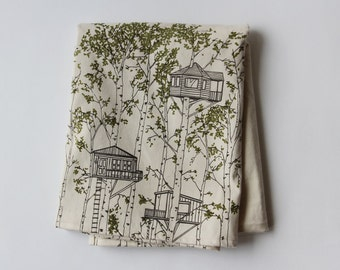 Organic Cotton Blanket - Green Tree Houses