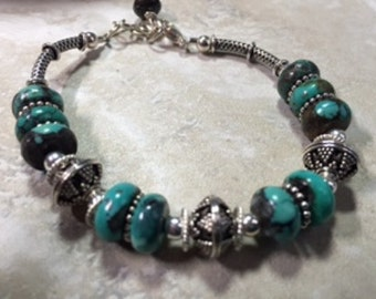 Rare Nevada Blue Gem turquoise and sterling silver bracelet. Free shipping in the US!
