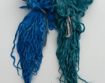 Suri Alpaca Locks, Teal Suri locks, Sapphire Suri Long Locks, Tailspinning Locks, Long Locks for Yarn