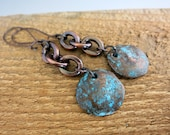 Copper Link Earrings, Mykonos Metal Patina Disc, Artisan Handcrafted Earrings, Ready to Ship