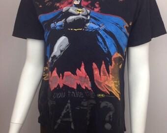 VTG 90s Batman Cartoon Faded Distressed Tshirt Shirt