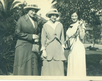 1920s Women Standing Outside Beaded Purse Bag Straw Hats Fashion Dress Antique Vintage Black and White Photo Photograph