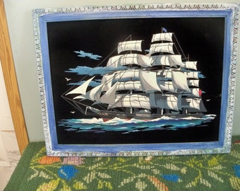 the gutty sark completed large  paint by number on velvet