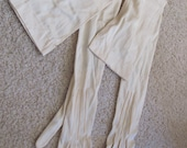 "Antique Off White Thin Silk Ladies Snap Wrist Opera Gloves 22"" Long (02A)"