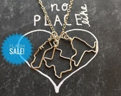 SALE Two State Necklace - Friendship Necklace - Gift Personalized - Best Friend Necklace 2 State to State Necklace - Long Distance Love