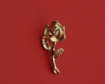 Vintage 1980's Single Golden Rose Design Brooch- Pin Back Style!
