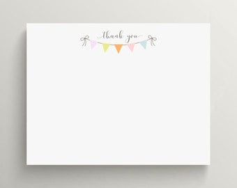 colorful pennant note card set  //  thank you note set  //  personal stationery // bunting // simple // baby shower // birthday