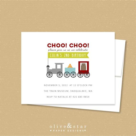 train // birthday invitation set  // baby shower invitation  //  locomotive  //  railroad // choo choo train // train invitation // circus