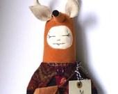 A deer in a frock. cloth doll, animal, deer handmade art doll