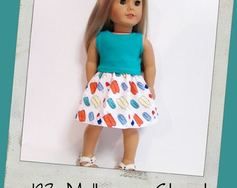 """18"""" Doll Clothes, AG doll clothes- Teal Tank top and Popsicle print skirt fits 18"""" dolls like American Girl, Maplelea"""