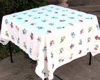 Vintage Floral Tablecloth, Cotton Printed Tablecloth, Multi Color Flowers 64 X 54 Inches