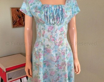 VALENTINES SALE 1960s Perfectly Spring Blue and Pink Floral Print Dress with Gathered Bust Line S M