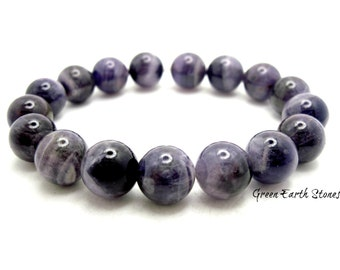 Amethyst 10mm beaded bracelet,  Crystals Healing, Purple, Chakra Bracelet, Meditation, Psychic