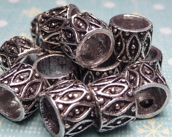 Sterling Silver Large Hole Bali Bead 7x8mm - 4pc