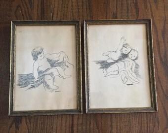 Pair of vintage baby drawings signed Bradley