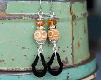 Antique Assemblage Repurpose Upcycle Earrings with 1920s Jet Glass Bone Beads and Rhinestones