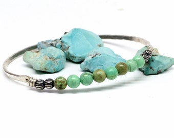 Bohemian Turquoise Bracelets - Sterling Silver - Stackable Bangles - Gift for Women