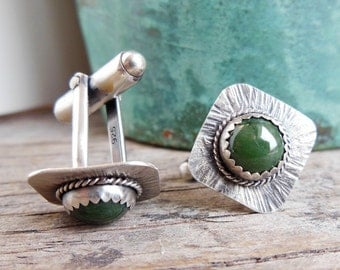 Sterling Silver Cuff links, Green Jade, Accessories for Men, Gift for Men, Gemstone Cuff links