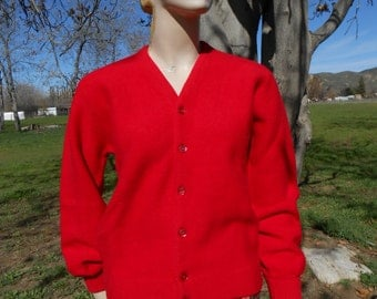 Men's Vintage Red Wool Golf Sweater - Size M