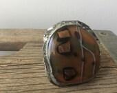 Fused glass large  boho ring-SALE