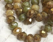 8 x 6mm Rondell Mix of champagne, Green Picasso and Bronze colors Opal Milky glass Czech glass Beads 10 pieces BOHO Supplies