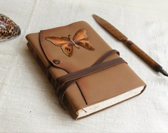 leather journal, notebook, diary in brown and gold with vintage style old paper, custom personalized quote - Butterfly