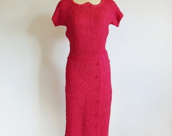 50s crocheted RAYON RIBBON dress in hot pink size medium