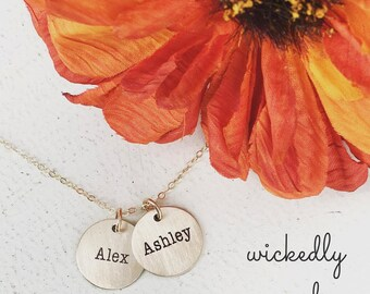 Gold name necklace - Two disc personalized mother necklace - 2 name necklace - option of silver, gold-filled or rose gold-filled - 5/8 inch