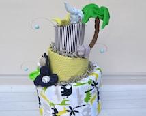 Safari Diaper Cake for Baby Boy, Safari Baby Shower Centerpiece or Decoration, Unique Baby Gift, Lion, Alligator, Giraffe, Elephant