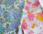 Vintage Pillowcases - Mod Daisies and Mums in Pink and Blue - Standard Size Pair