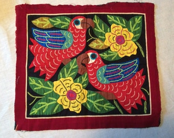 Vintage Appliqued and Embroidered Parrot Fabric Panel