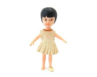 Vintage 1960s Miss Merry Doll • 4 Inch Plastic • Made in Hong Kong • Brown Hair, Original Dress