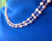 Vintage Necklace Choker Collar Sterling 925 Polished Rose Quartz Czech 50s Mid Century Retro Brides Statement Knotted