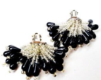 Vintage Haystack 22 Multi Strands Teardrop Black Clear Lucite Beaded Dangles Clip Earrings Mid Century Art Nouveau Rare Estate Statement