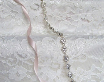 Delicate Silver Crystal Rhinestone Bridal Sash,Wedding sash,Bridal Accessories,Bridal Belt,Style #49