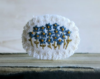 Floral Textile Art Brooch - Blue Flowers Hand Embroidered on Natural Linen Floral Brooch