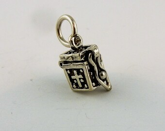 Sterling silver hinged prayer box charm, pendant with cross