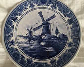 Delft windmill plate, handpainted collector delft  7 inch plate