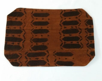 Lot of 6 placemats, assorted patterns, brown and black, Mudcloth placemats mud cloth, bogolan
