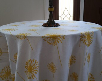 Round tablecloth, matching dinner napkins, dandelion yellow and white cotton
