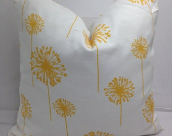"Yellow and white, dandelion, cotton toss pillow 18"" square"