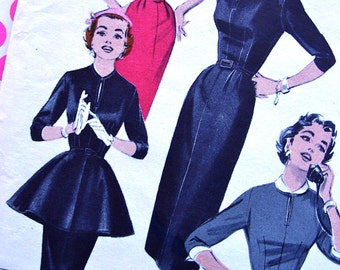 1950s Vintage Sewing Pattern - Butterick 7106 - QUICK & EASY - Dress and Accessories, Cuffs, Peplum, Cape Collar - FF