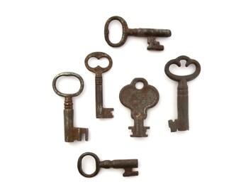 6 vintage skeleton keys Antique key collection Antique metal keys Skelton keys Barrel keys 6 keys Wedding keys Old bulk keys, bit 11