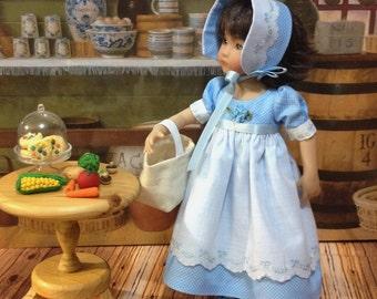 "SALE Little Darling ""Baby Blue"" dress and bonnet fits 13 inch Dianne Effner dolls"