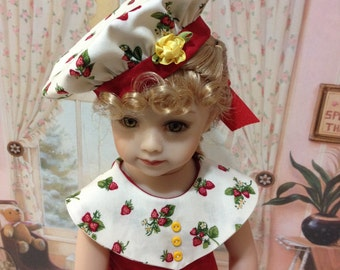 """Maru and Friends """"Strawberries and Cream"""" Romper and hat fits the Maru and Friends 20 inch doll by Diane Effner"""