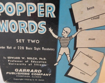 Vintage 1950s POPPER WORDS Set Two Blue Mid Century